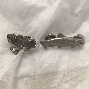 Two pewter pins. One trout and one bear